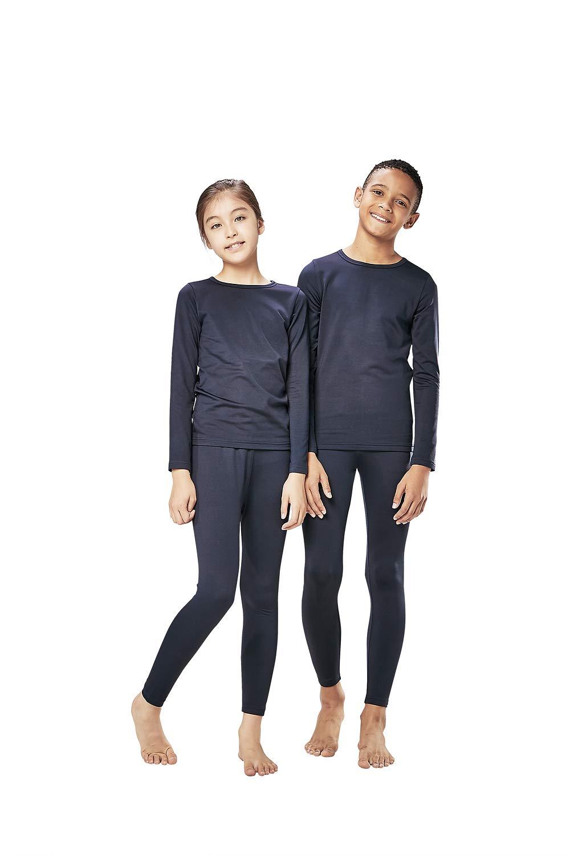 DEVOPS Boys & Girls Thermal Heat-Chain Microfiber Fleece Underwear Baselayer Top & Bottom (Long Johns) Set (X-Large, Navy) by DEVOPS
