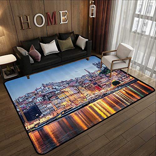 (Custom fit Floor mats,European Cityscape Decor Collection,Cityscape by The River in Porto Bright Lights Old Small Town Architecture Decor,Mult 47