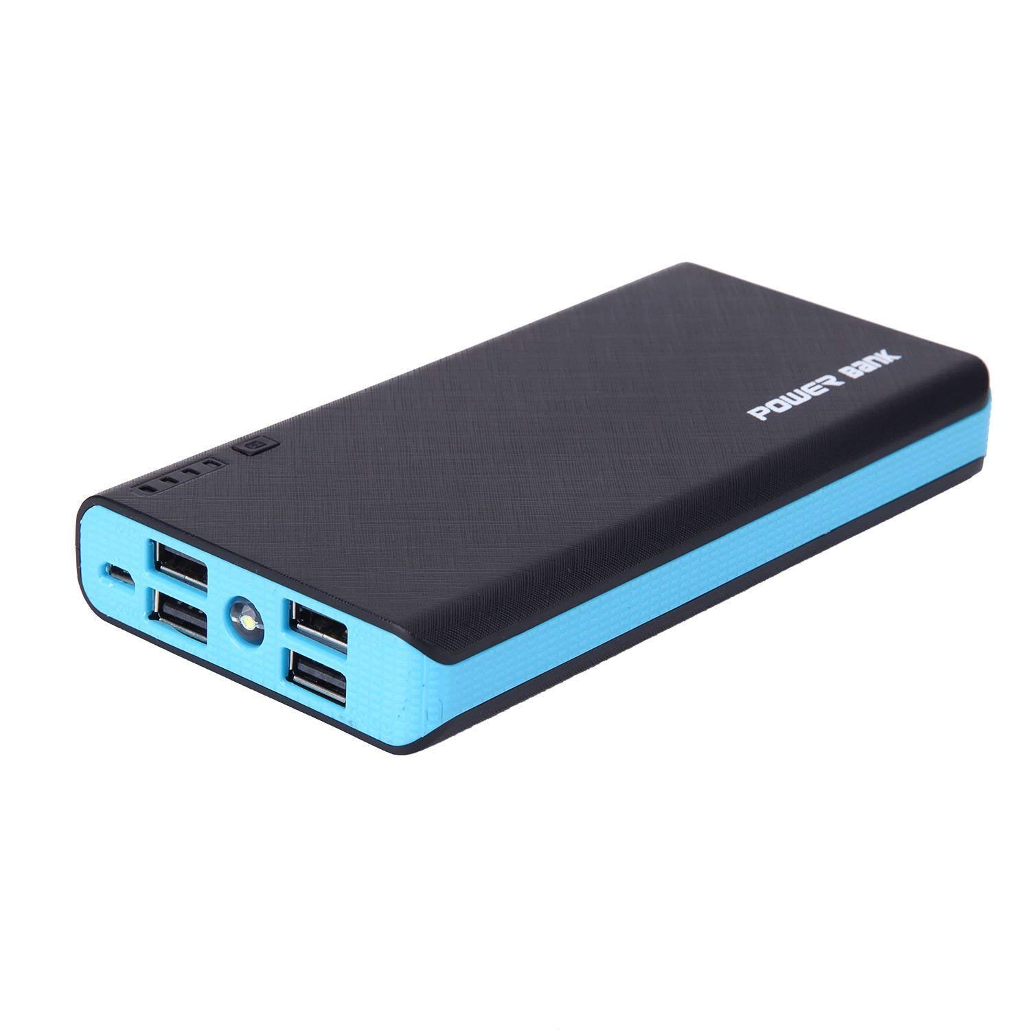 4 USB 50000mAh Power Bank LED External Backup Battery Charger F Phone (Blue)