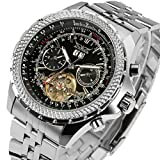 LYMFHCH Mens Watches Big Dial Auto Date Black Stainless Steel Strap Watch (Silver)