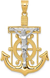 14k Two Tone Yellow Gold Nautical Anchor Ship Wheel Mariners Cross Religious Pendant Charm Necklace Crucifix Mariner Fine Jewelry For Women