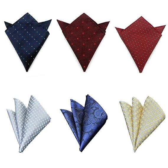 6 Piezas Cuadrado Pañuelo de Bolsillo de Traje de Hombres Handkerchief para Boda Fiesta Otras Ocasiones