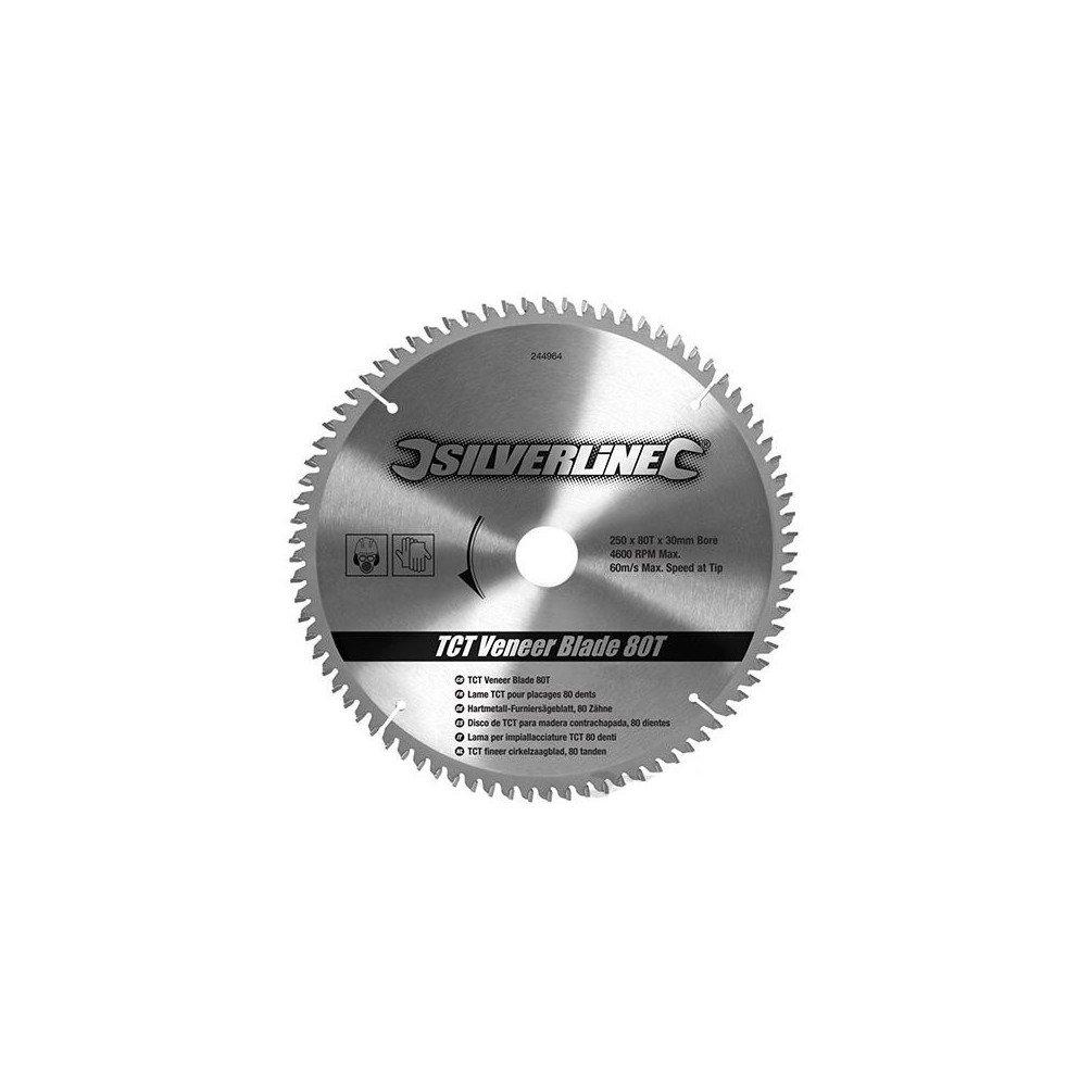Silverline 244964 - Disco de TCT para madera contrachapada, 80 dientes (250 x 30 - anillos de 25, 20 y 16 mm) Toolstream