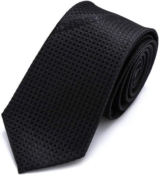 JINGJING Corbata Negra Flaco de los Hombres Llanura sólida Tejido ...