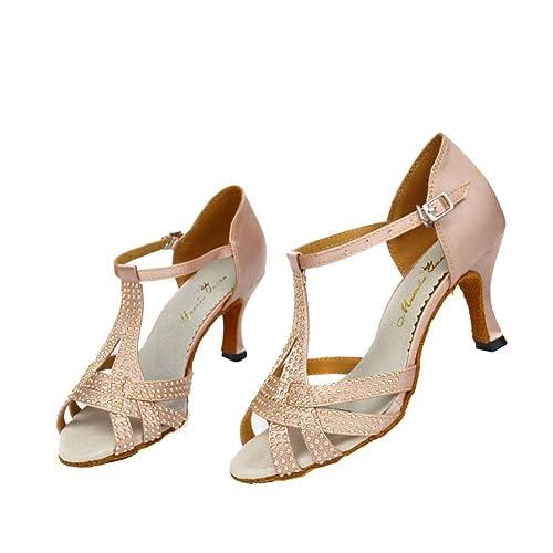 buy popular 26103 cf317 GUOSHIJITUAN Donna S Scarpe da Ballo Latino,Diamante Tacchi ...