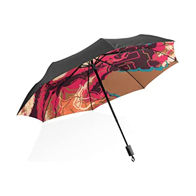 LORVIES African Woman Portrait Custom Foldable Sun Rain Umbrella Wind Resistant Windproof Folding Travel Umbrella