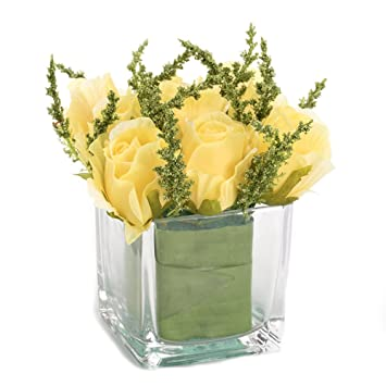 Amazon Nattol Lifelike Mini Yellow Artificial Roses Bouquet