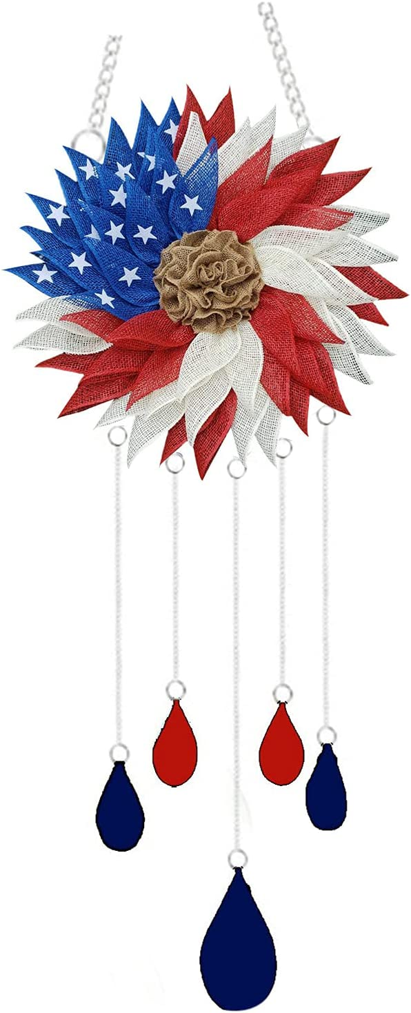 Color Changing Solar Hummingbird Butterfly Wind Chimes Independence Day Memorial Day Patriotic Wind Chimes American Flag Hanging WindChimes Outdoor for Home Garden Décor (A)