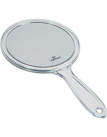 rosig runder Spiegel beidseitiger Kosmetikspiegel hinten 2-fache und 3-fache Vergr/ö/ßerung Beaupretty Handspiegel mit Griff