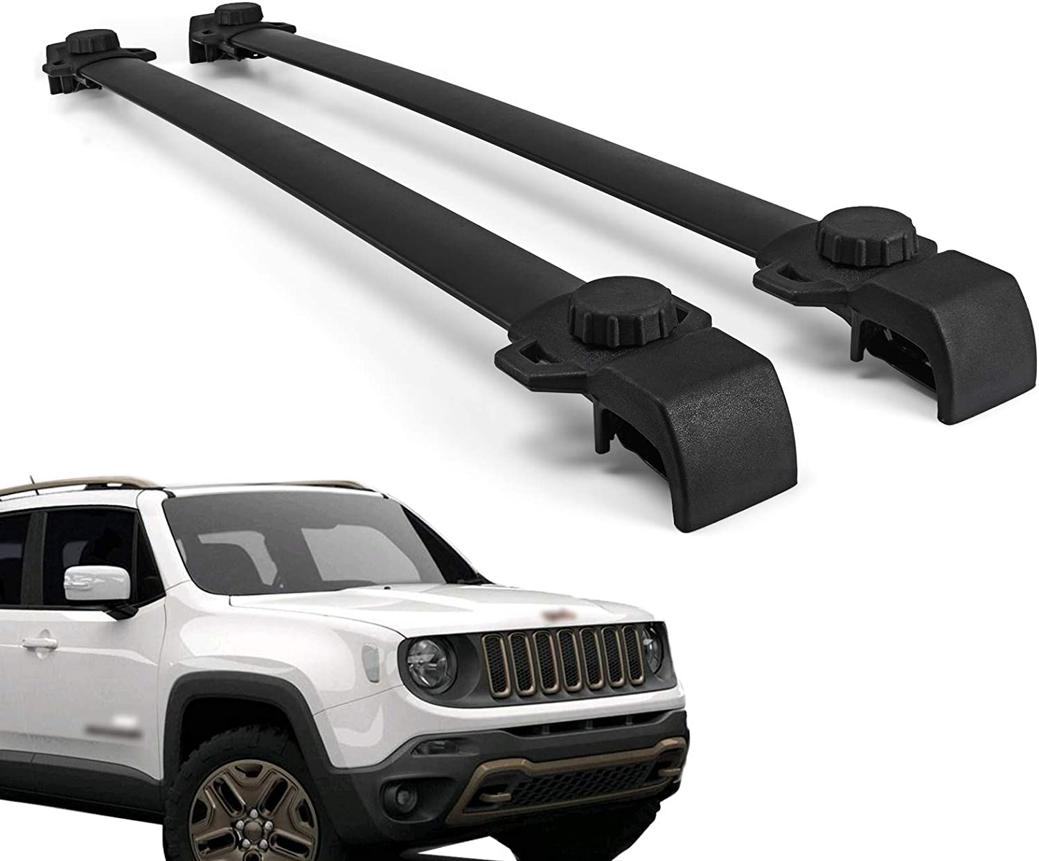 Mophorn Roof Rack Cross Bars Baggage Locking Roof Rail Crossbars Luggage Cargo Ladder Bike Load Roof Cross Bars Black (for Jeep Renegade Black, for Jeep Renegade 2014-2018 Black)
