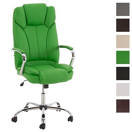 CLP Silla de Oficina XXL Xanthos en Cuero PU I Silla de Escritorio Altura Regulable I Silla de Ordenador con Ruedas & Ergonómica I Color: Verde