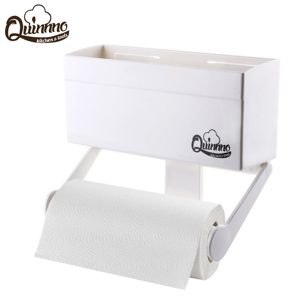 Magnetic Paper Towel Holder with Storage Shelf for Refrigerator, Mounts Securely on Fridge and Metal Surfaces, Kitchen Rack Organizer Fit Regular to Huge Paper Towel Roll with 4.4 lbs Capacity by Quinnno