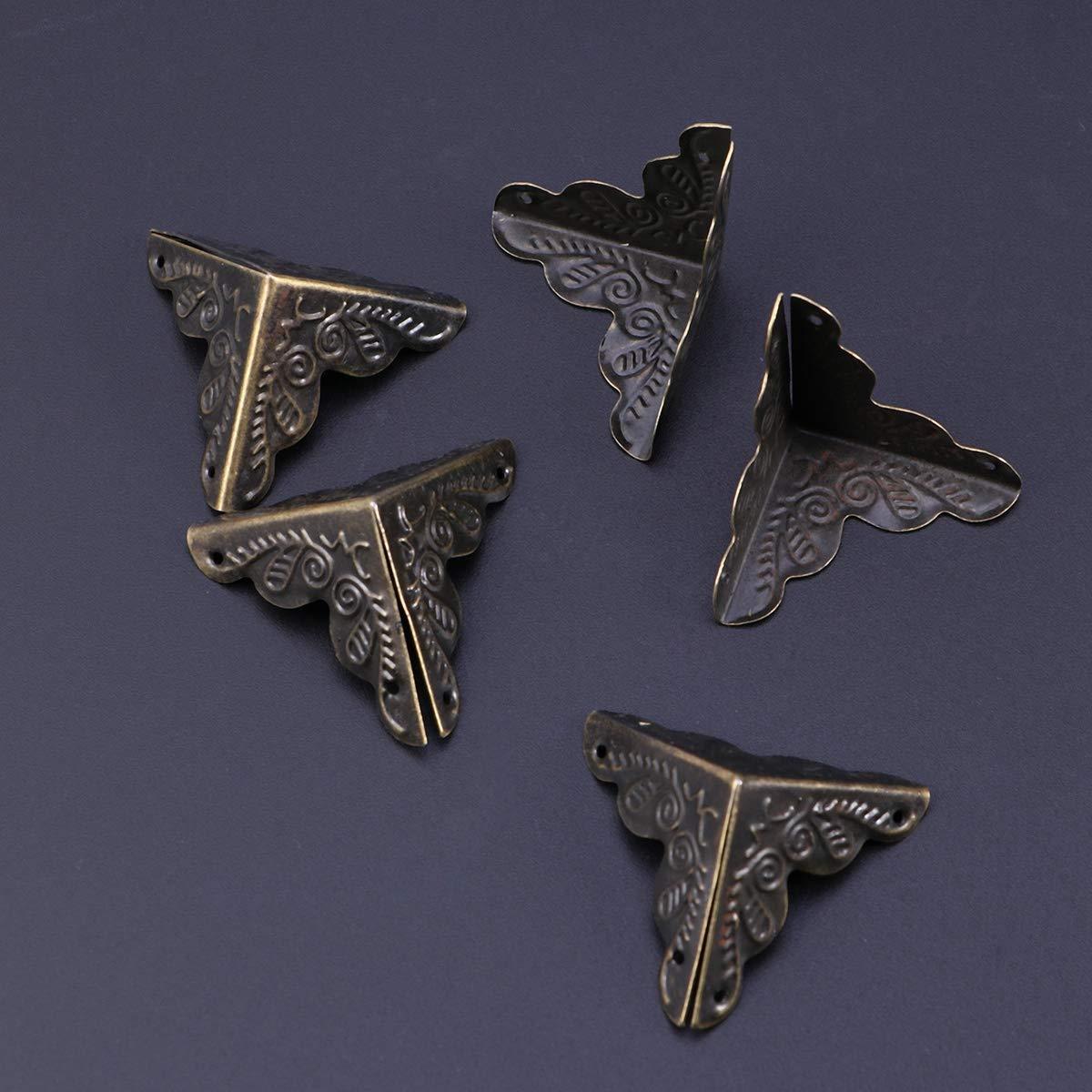 Negro Vosarea 30 Piezas de Protectores de Esquina de Metal para Cajas de Seguridad de Borde Guardia Vintage Decorativo Muebles Protector de Esquina con 120 Piezas Clavos