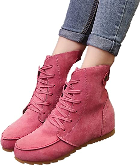 e66f70292dc Amazon.com: Sharemen Work Boots Women Ankle Boots Flat Booties Shoes ...