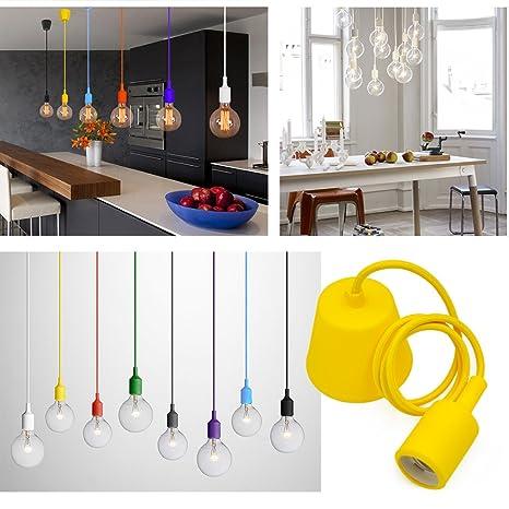 Princeway Colorido Silicona Moderna Iluminacion Lamparas de Techo Colgante- Portalamparas E27- Europea IKEA Estilo- Adecuado para Todos Bombillas E27- ...