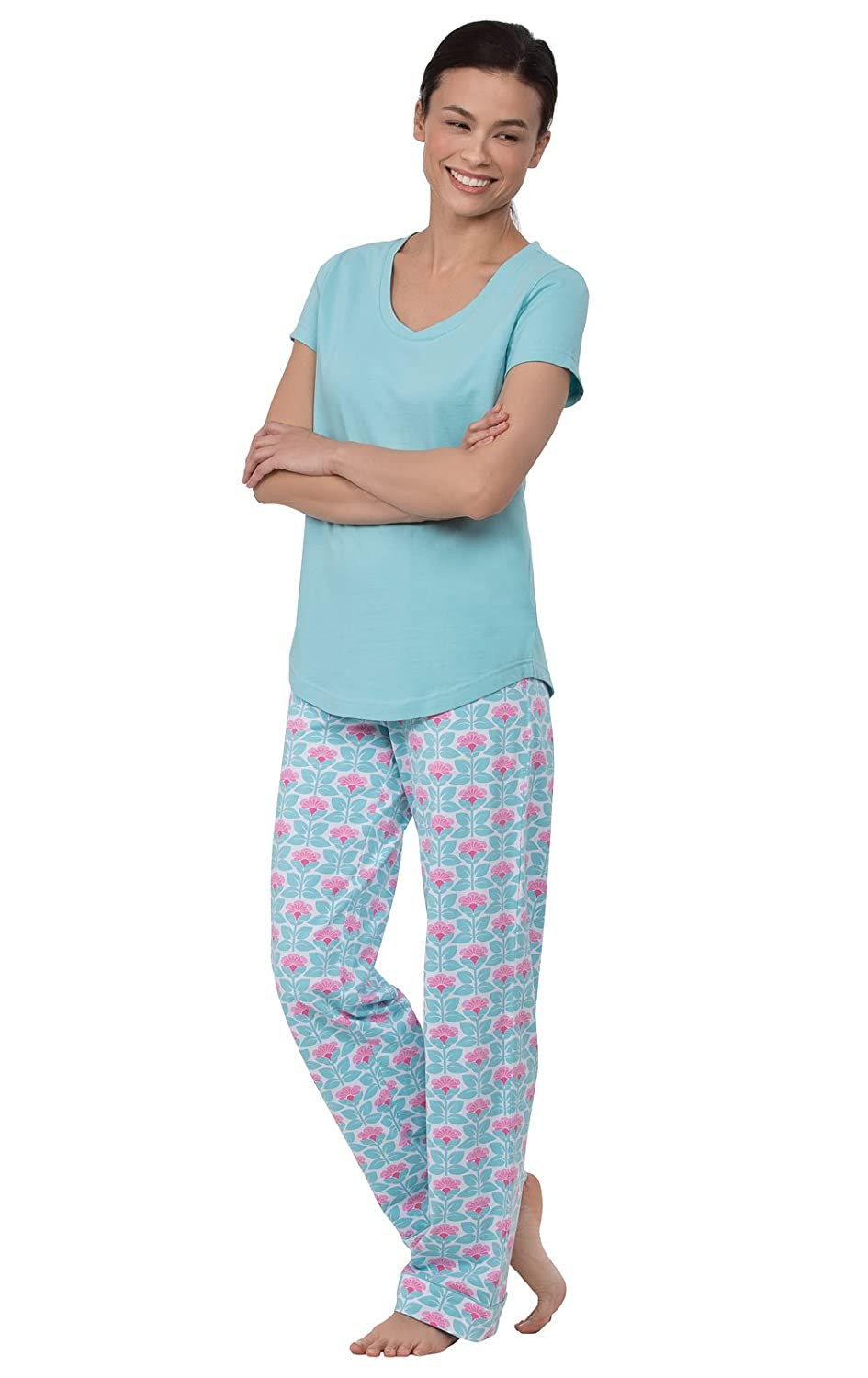PajamaGram Women's Short Sleeve PJs Printed Two Piece Pajama Set GAMV06350