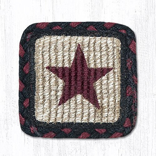 Earth Rugs 83-344BS Burgundy Star Design Square Wicker Weave Coaster, 5 by 5