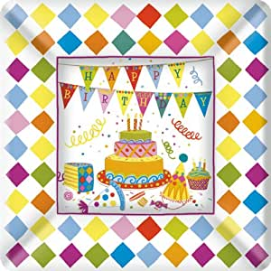 Ideal Home Range 8 Count Square Paper Plates, 10-Inch, Birthday Cakes