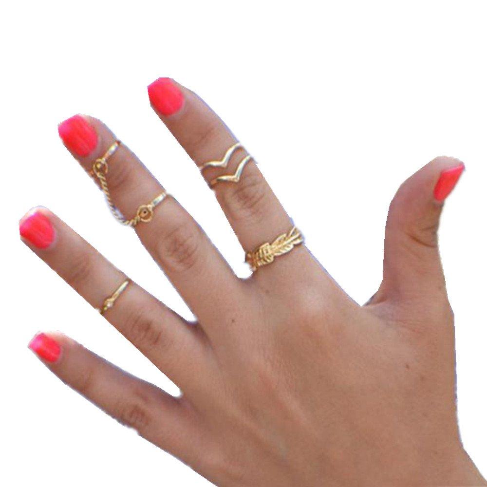 Rings,Baomabao 6pcs / Set Gold Rings Crystal Knuckle Band Ring