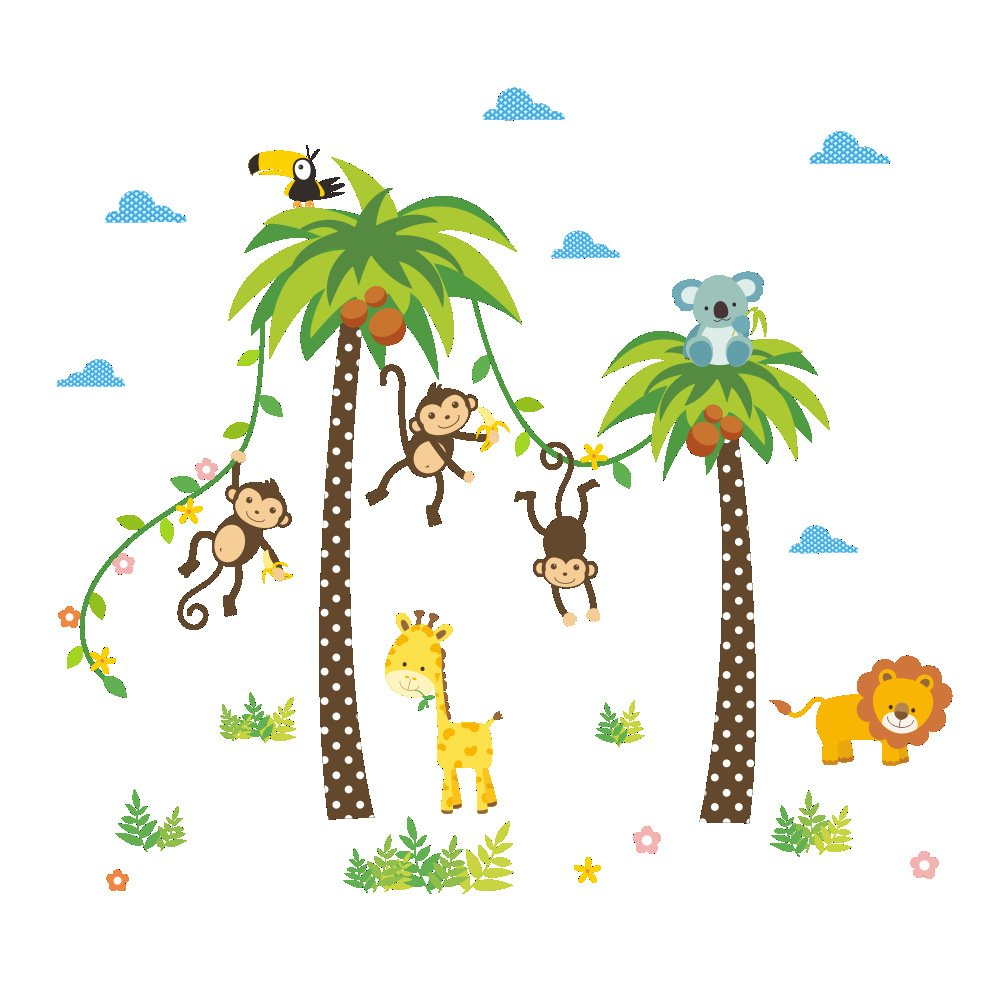 ElecMotive Monkey Lion Giraffe Crow Jungle Animals Decorative Peel & Stick Wall Art Sticker Decals Kids Boys Nursery Wall Art Room Decor EUK-0684