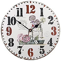 Wooden Clock, SkyNature 14 Inch Silent Round Wall Clocks Living Room Decorative Vintage / Country / French Style (12 in, Beautiful Garden)