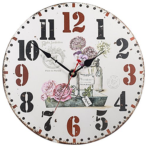 Wood French Style Table Clock (Silent Non-Ticking Decorative Wooden Wall Clock by SkyNature (14 in, Beautiful Garden))