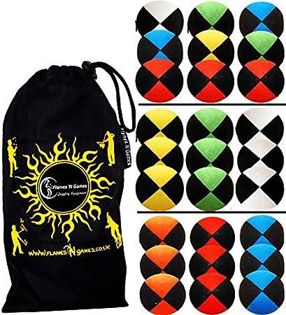 +Tasche Set Ideal F/ür Anf/änger Wie Auch F/ür Profis. Profi Beanbag B/älle aus Glattleder Schwarz//Gelb Jonglierb/älle 3er Set Leather