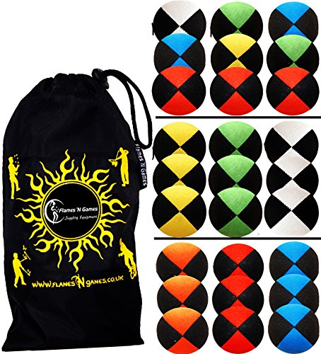 3x Pro Thud Juggling Balls (Deluxe-SUEDE) Professional Juggling Balls Set of 3 + Travel Bag! (Blue) Flames N Games