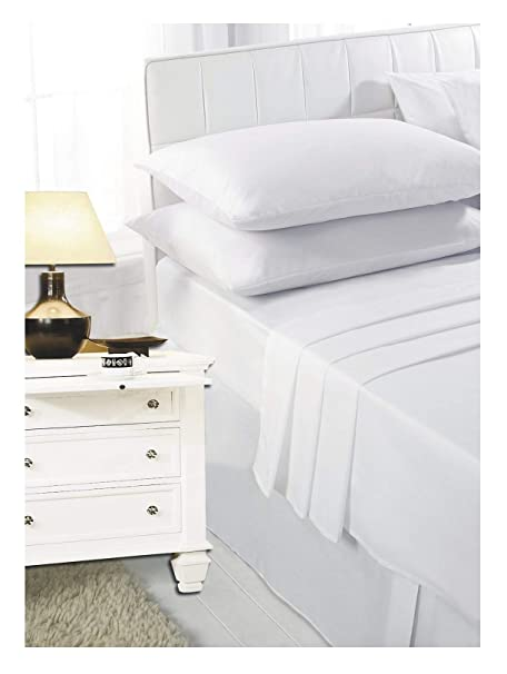 Superior NEW LUXURY PLAIN DYED POLYCOTTON FITTED FLAT BED SHEET SINGLE DOUBLE KING  SIZE BEDDING (White