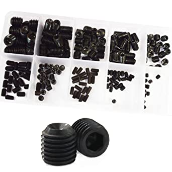 Set Grub Metric Screw M3 M4 M5 M6 M8 Hex Socket Allen Head Screw Bolt Assortment Kit Set Alloy Steel 200Pcs,12.9 Class Black ALBERT GUY