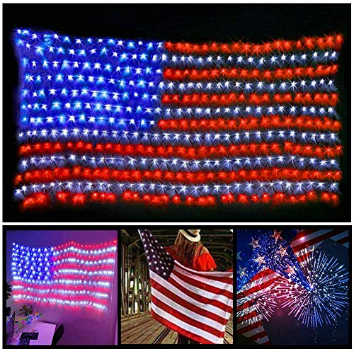 Fjiangyi 420 LED American Flag String Lights - 29V Low Voltage Safe Large USA Flag Outdoor Lights Waterproof Hanging Decoration for Festival Holiday Independence Day Memorial Day Garden Yard from Fjiangyi