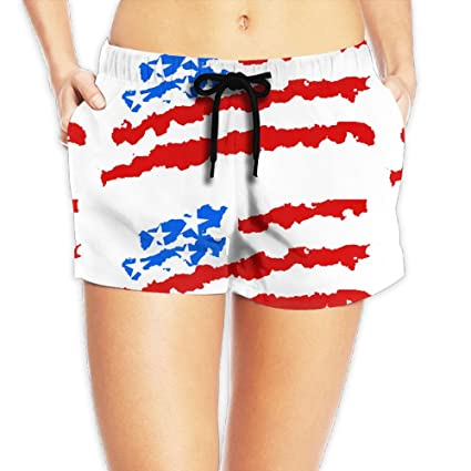 eeb54866817 USA America Flag Quick Dry Lace Boardshort Beach Shorts Pants Swim Trunks  Quotes Ladies Swimsuit With