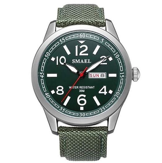 Relojes Calendario Impermeable Cuero de Vaca Reloj Multifuncional para Hombres Reloj Deportivo de Cuarzo para Exteriores, Verde Militar: Amazon.es: Relojes