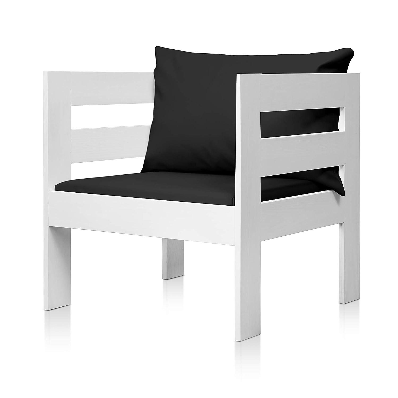 SUENOSZZZ - Sofa Jardin de Madera de Pino Color Blanco, MEDITERRANEO Mod. sillón, Sillon cojín Polipiel Color Negro. Muebles Jardin Exterior. Silla ...