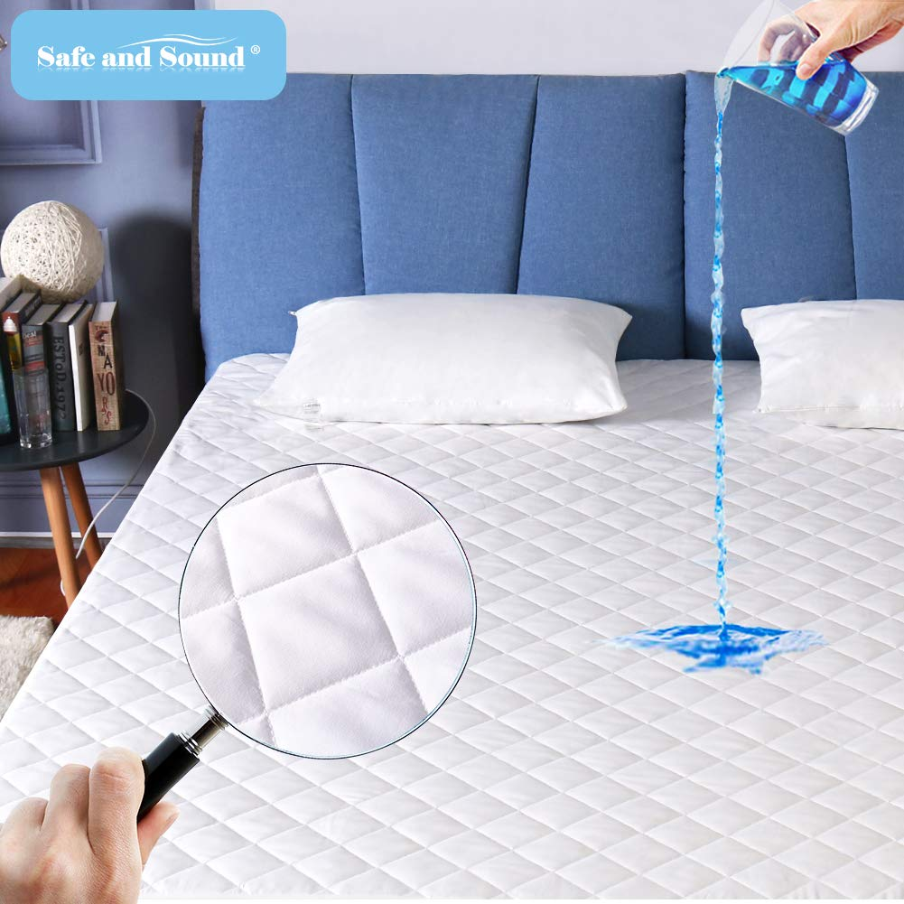 Full Size Mattress Pad 100% Waterproof Hypoallergenic Quilted Fitted Mattress Cover, Stretched to Fit Deep Pocket Mattress Protector- Vinyl Free