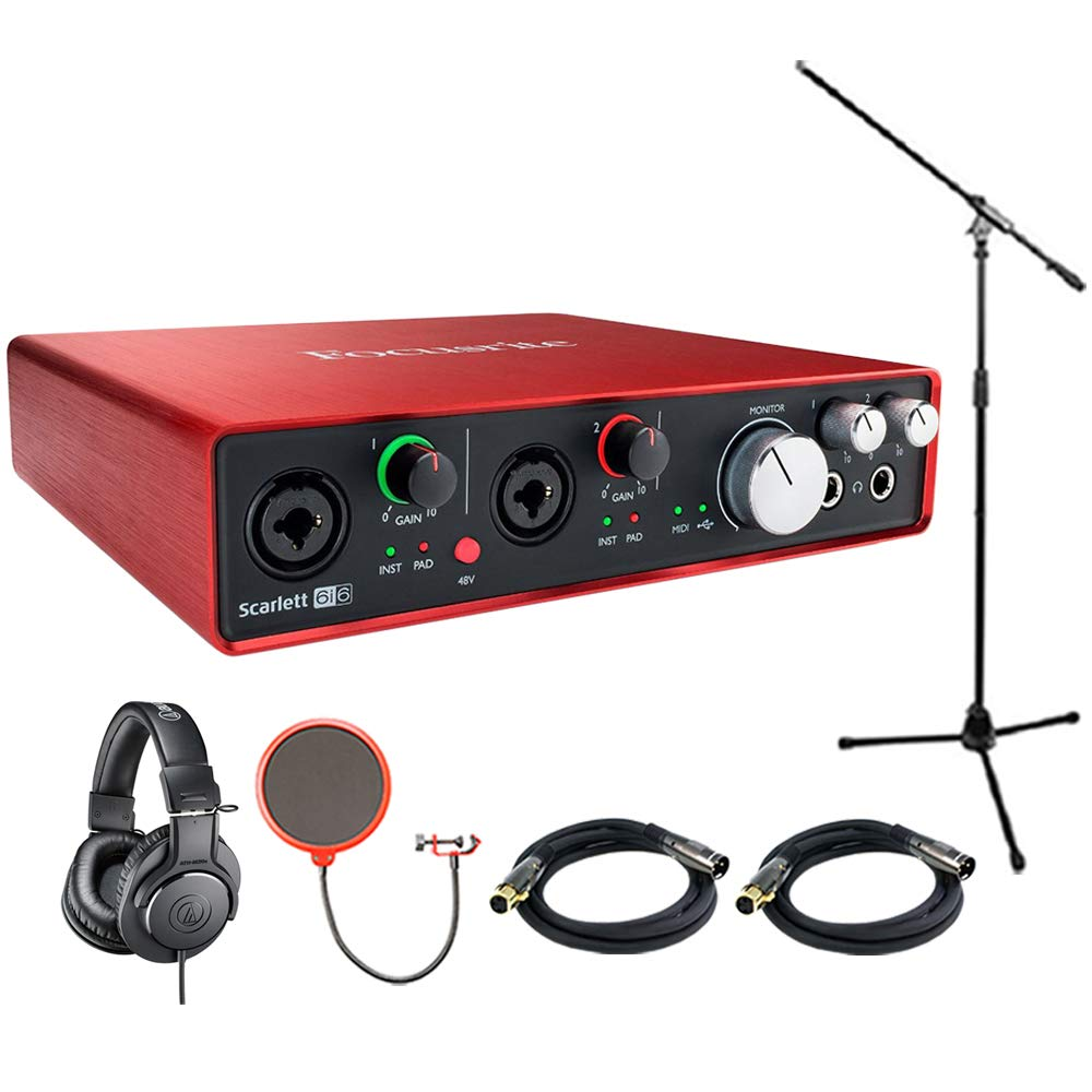 Focusrite Scarlett 6i6 USB Audio Interface (2nd Generation) includes Bonus Audio-Technica Professional Monitor Headphones and More E2FCRSCAR6I6