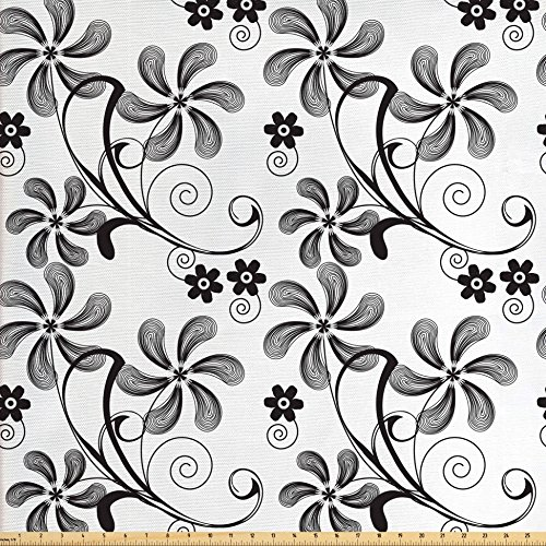 Ambesonne Floral Fabric by The Yard, Monochrome Doodle Style Blooming Plants in Various Shapes Swirls and Lines Image, Decorative Fabric for Upholstery and Home Accents, Black White