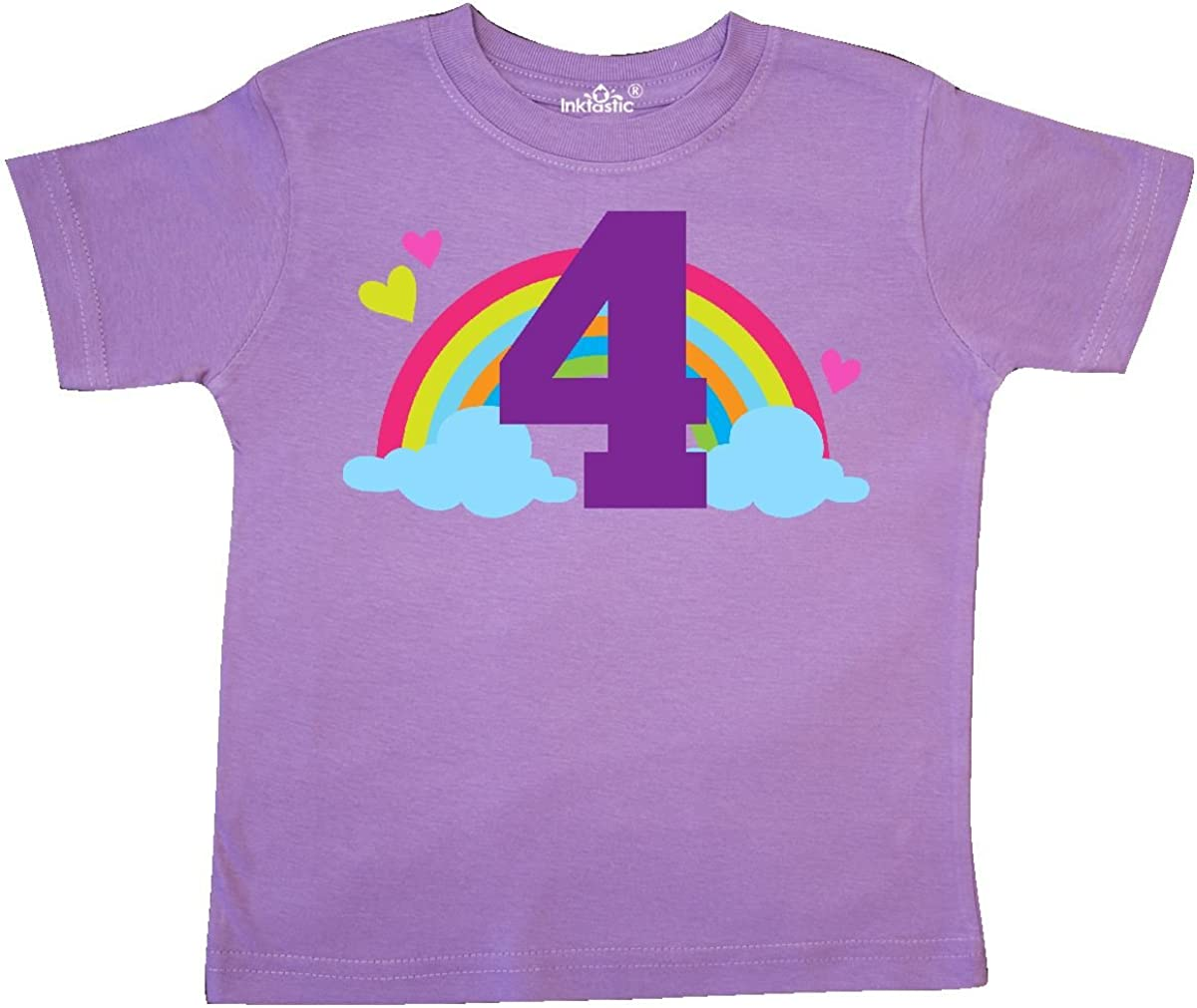 inktastic 4th Birthday Rainbow Toddler T-Shirt