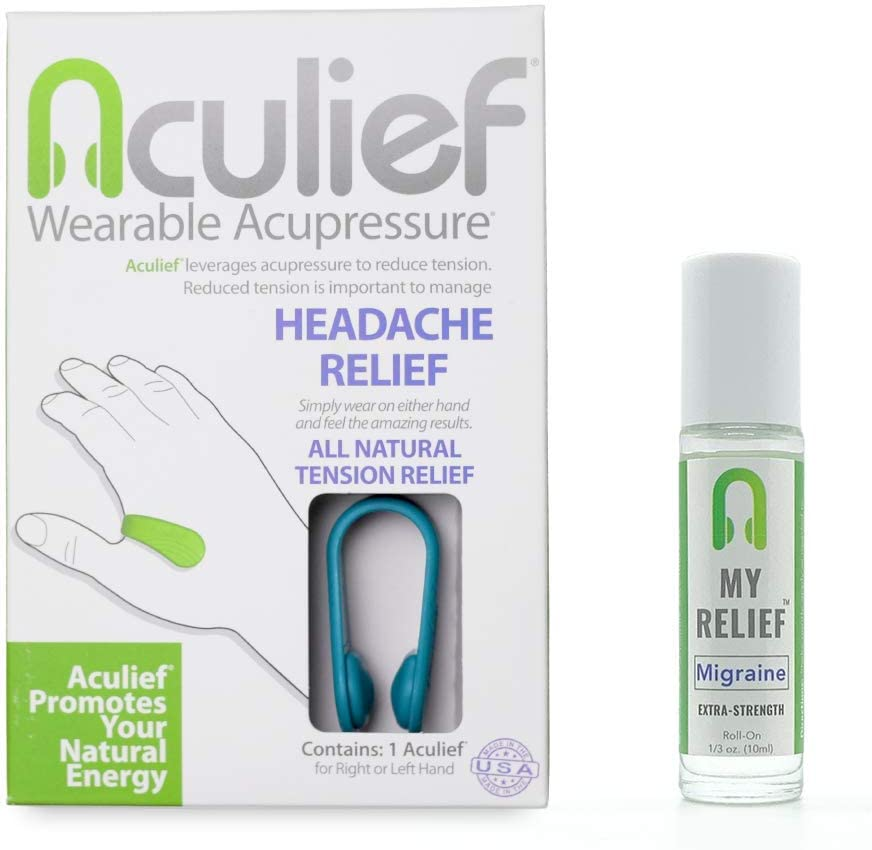 Aculief Migraine Kit - Award Winning Natural Headache, Migraine and Tension Relief - Wearable Acupressure - Stress Alleviation - Simple, Easy & Effective - (Teal)