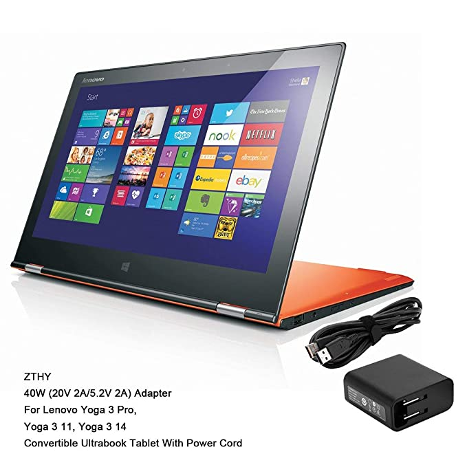 ZTHY 40W 20V 2A Lenovo Yoga Power Supply Adapter Charger for Lenovo Yoga 3 Pro 1370 Yoga 3 11 Yoga 3 14 1470 Yoga 700 11 14 IdeaPad Miix 700 ...