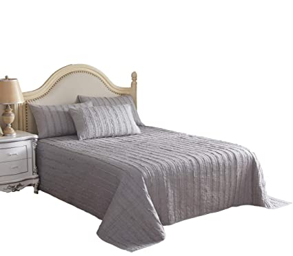 KING Beige Modern Farmhouse Bed Acid Wash Ruffle 3 Piece Quilt Set Bedding