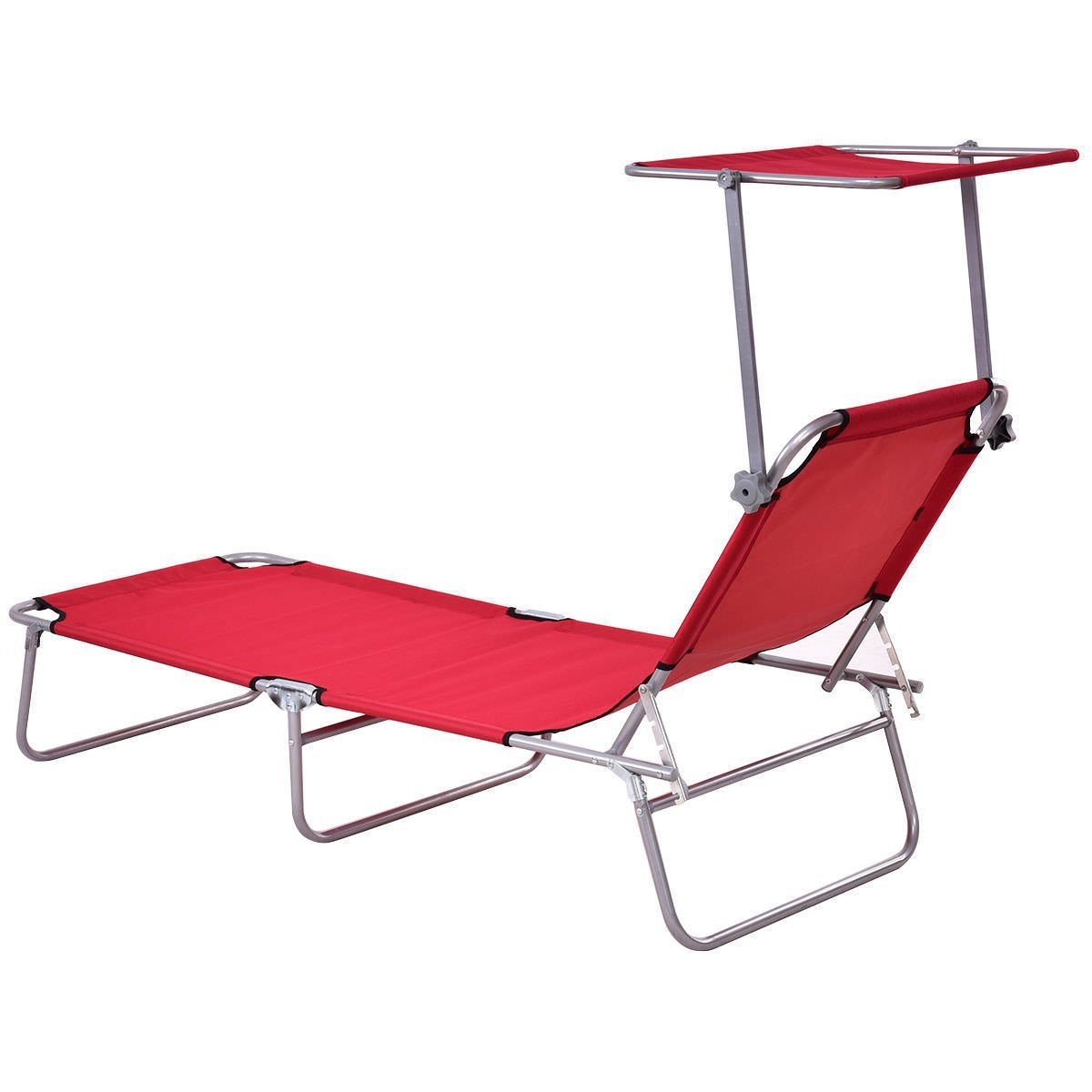 AK Energy Red Foldable Outdoor Relax Chaise Lounge Beach Chair Bed Camping Recliner Sun Shade Canopy