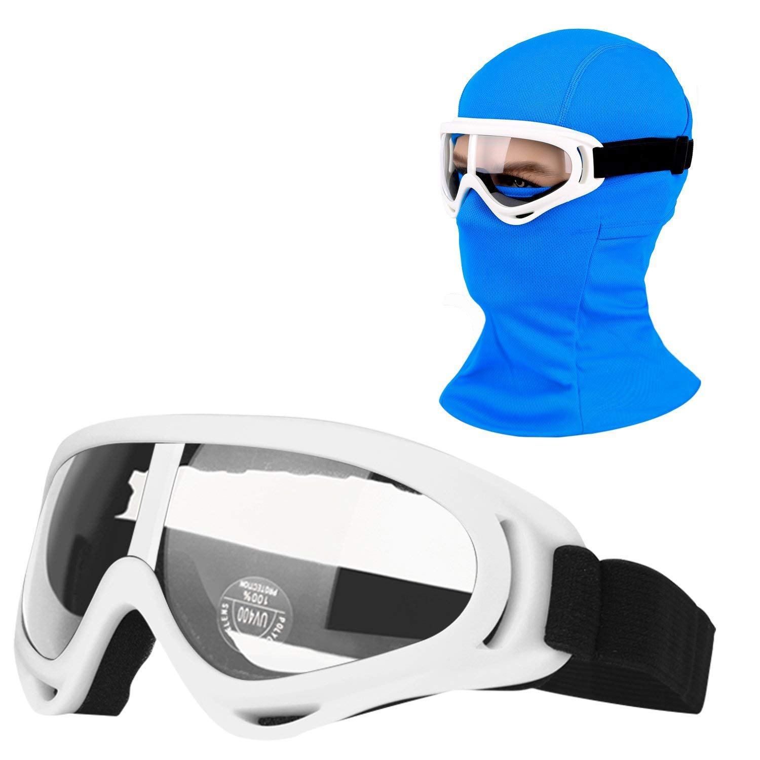 COOLOO Balaclava & Ski Goggles Sets, Ultralight Balaclava Face Mask Windproof Ski Hood + UV400 Protection Anti-Fog Ski Goggles Cycling, Biking, Ski Snowboard fit Kids Men & Women Black