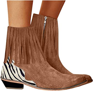 NEW WOMENS PULL ON ZIP TASSELS FLAT LOW HEEL CHELSEA CASUAL FASHION ANKLE BOOT