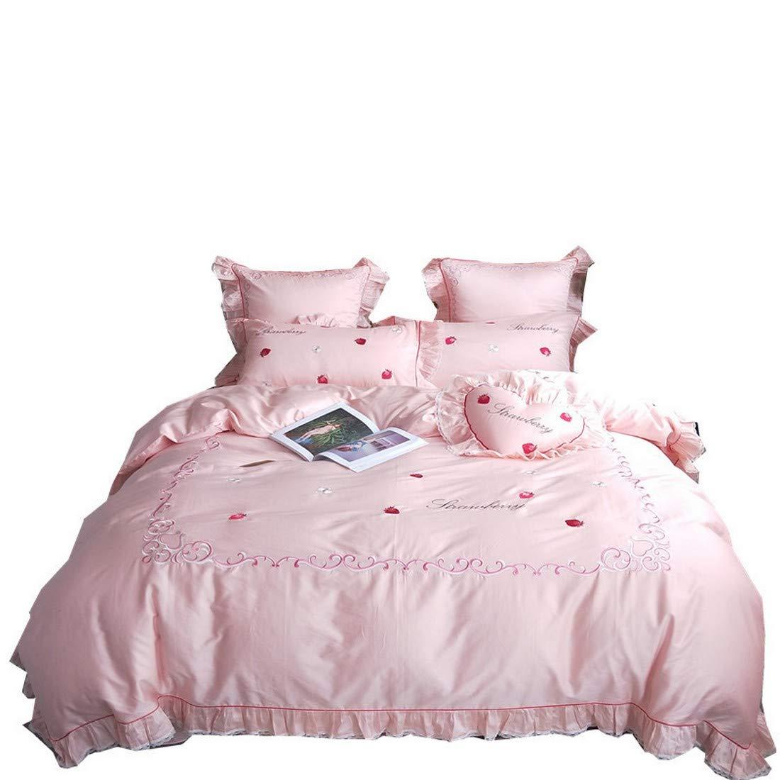 Koloeplf ピンクのストロベリー刺繍プリンセススタイルピュアコットンゴンサテンロングステープルコットン寝具セット (Size : QUEEN) B07NXQTRLV  Queen