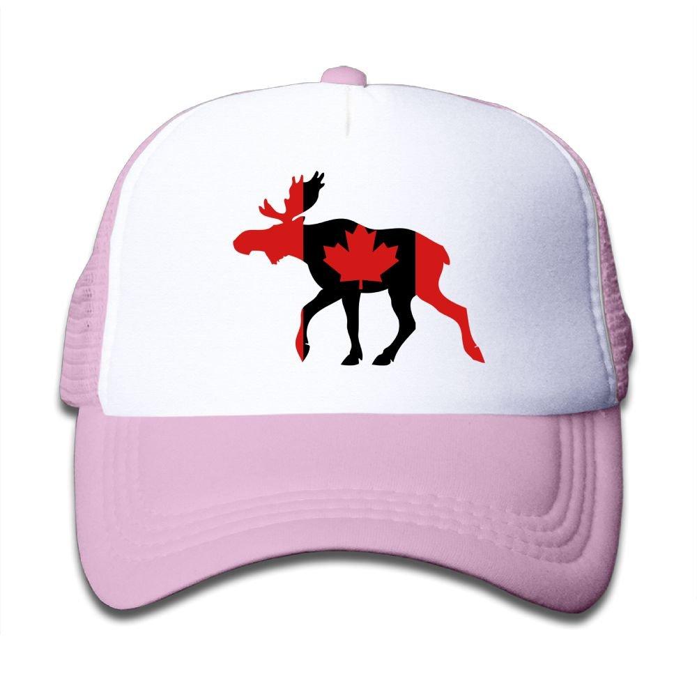 Qiop Nee Black Mesh Baseball Caps Adjustable Toddler Hat Canadian Moose Unisex