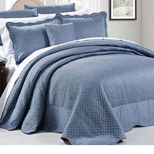 4 Piece 110 X 120 Royal Blue Oversized Bedspread Queen To The Floor, Hangs Over Edge Bedding Drops Side Bed Frame Drapes Large Extra Wide Long French Country Matte Satin Pattern, Polyester by D&H