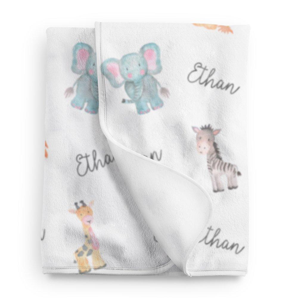 Safari animals personalized baby blanket, Safari nursery, Custom name blanket BB118