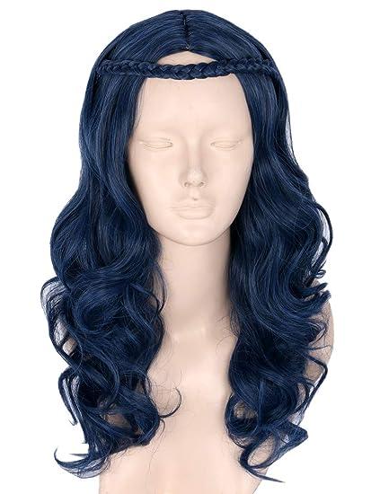 Topcosplay - Peluca para niños con diseño de ondas azules oscuras para disfraz de Halloween,