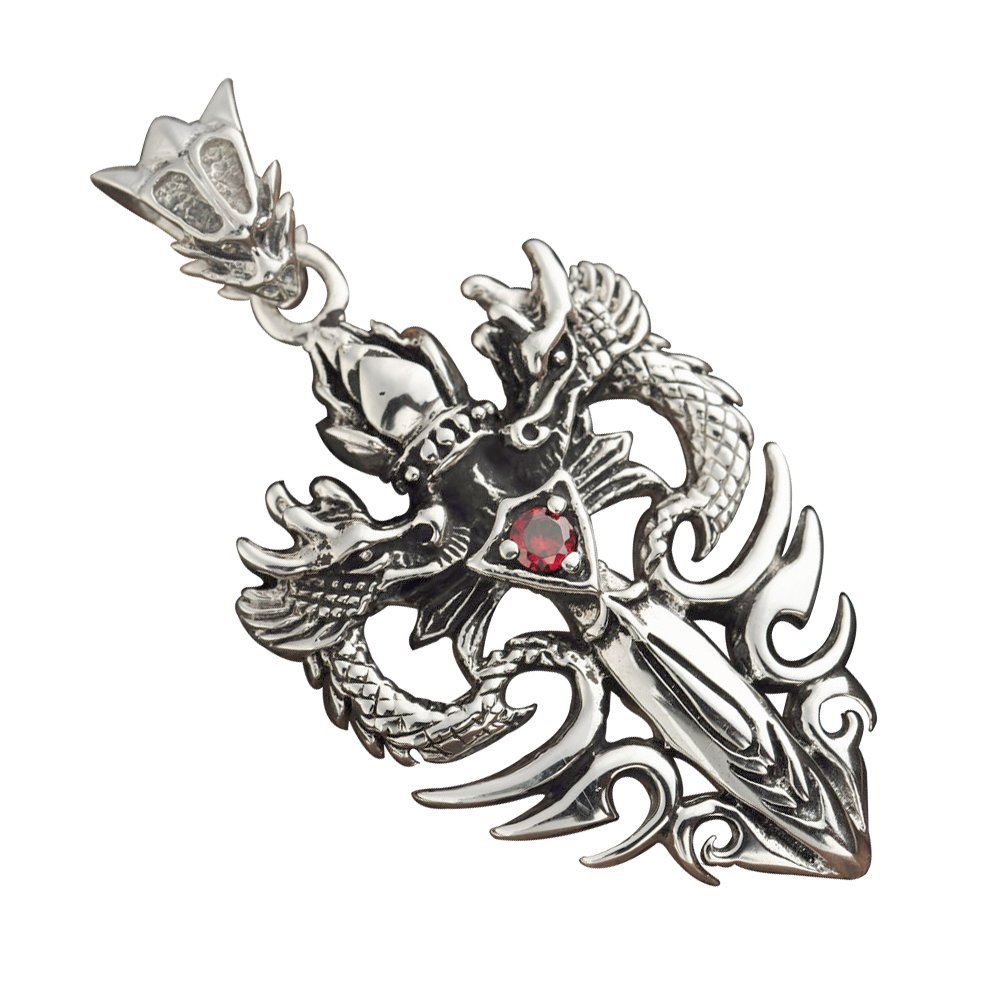 forfox Herren Vintage 925 Sterling Silber Double Dragon Angels & Demons Halskette Anhänger 40mm A024473-1